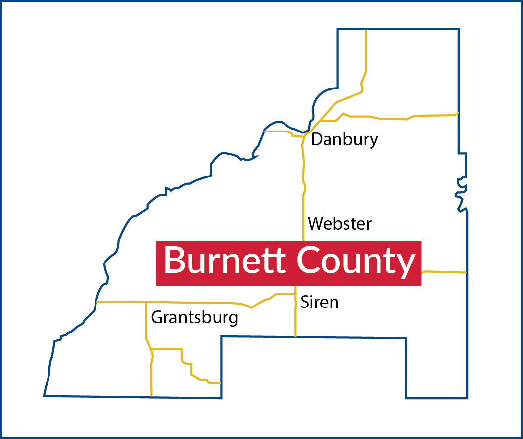 Map of Burnett County, Wisconsin