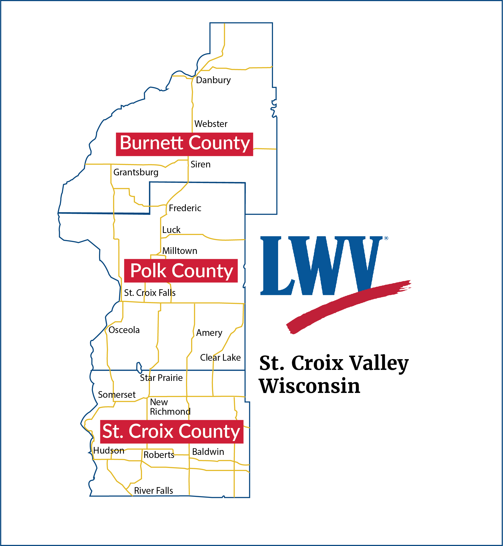 map of Burnett, Polk, and St. Croix counties in Wisconsin